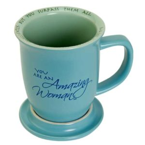57829 amazing woman coffee mug blue open