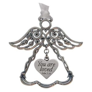 You are Loved Rosebud Angel Ornament