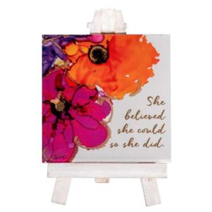 LOV113 She Believed Mini Easel Christian Gifts