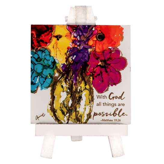 LOV114 With God Mini Easel Anne Pryor Christian Gifts