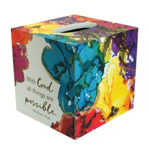 LOV115 With God Tissue Box Holder Christian Gifts