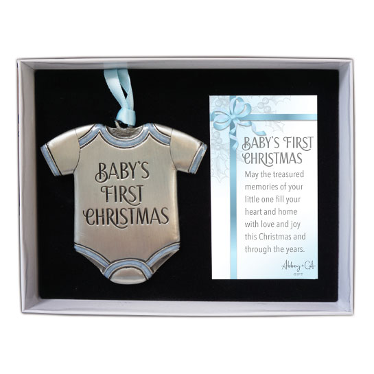 CO894B Baby's First Christmas Onesie Ornament in Blue