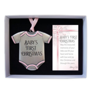 CO894P Baby's First Christmas Onesie Ornament in Pink
