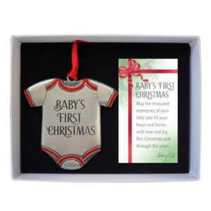 CO894R Baby's First Christmas Onesie Ornament in Red