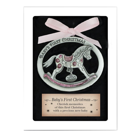 CO919P Babys First Christmas Ornament Rocking Horse 2020 in Pink