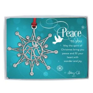 PO101 Peace Snowflake Christmas Ornament