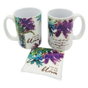 LOV126 Life is in Full Bloom Coffee Mug and Coaster Set