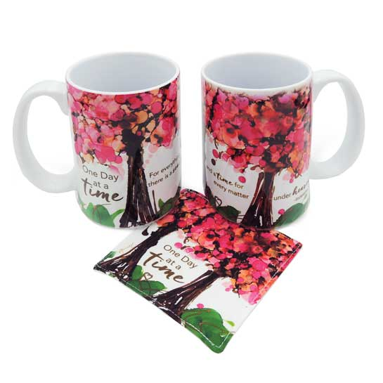 LOV127 One Day at a Time Coffee Mug and Coaster Set