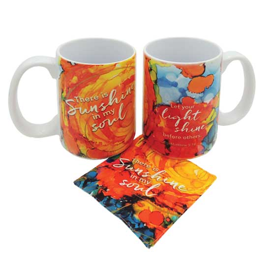 LOV130 There is Sunshine Coffee Mug and Coaster Set