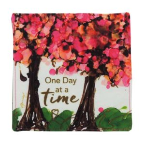 LOV135 One Day at a Time Fabric Coaster Set of 4