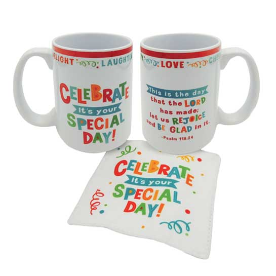 MUG150 Celebrate Your Special Day Mug and Coaster Set